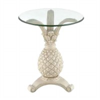 "19"" Round Distressed White Finish Pineapple Accent Table"