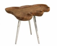 """18"""" Natural Teak Wood Table with Raised Edge and Steel Legs"""