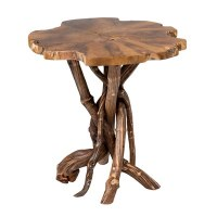 "20"" Natural Teak Wood Top and Root Base Table"