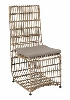 "40"" Distressed White Finish Rattan Wrapped Iron Frame Marvel Chair"