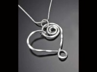 """18"""" Silver Flattened Spiral Heart Necklace"""