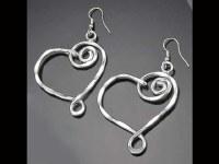 Silver Flattened Spiral Heart Earrings
