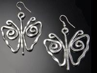 Silver Butterfly Shaped Earrings