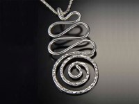 """18"""" Silver Textured Squiggle Swirl Necklace"""