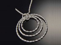 """18"""" Silver Twisted Triple Ring Necklace"""