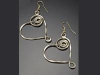 Gold Flattened Spiral Heart Earrings
