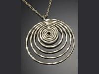 "30"" Large Gold Flattened Spiral Necklace"