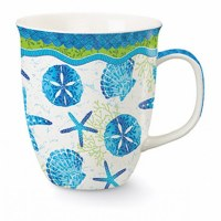 15 oz. Blue and Green Beach Batik Wrapped Ceramic Harbor Mug