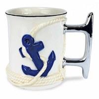15 oz. Blue and White Nautical Anchor Cleat Handled Ceramic Mug