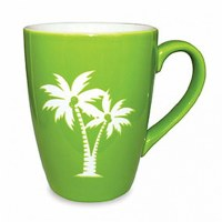 14 oz. Green and White Etched Palms Ceramic Mug
