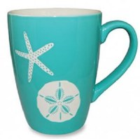 14 oz Aqua and White Sand Dollar Mug