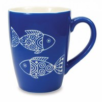 15 oz. Blue and White Etched Batik Fish Ceramic Mug