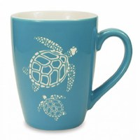 14 oz. Aqua and White Etched Sea Turtles Ceramic Mug