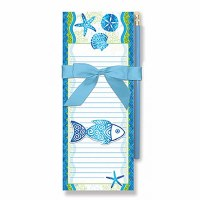 "8"" Blue Beach Batik Fish Magnetic Notepad Set"