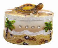 "3"" Tropical Sea Turtle Gem Encrusted Box"