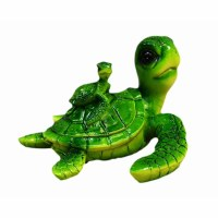 """5"""" Green Textured Mother and Baby Sea Turtle Sculpture"""