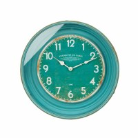 "17"" Round Rustic Turquoise and White Clock"