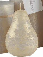 """4"""" x 3"""" Light Gray and Gold Ritz Timber Pear Candle"""