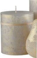 """4.5"""" x 3.75"""" Light Gray and Gold Ritz Timber Pillar Candle"""