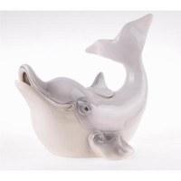 """9"""" White Ceramic Dolphin Teapot"""