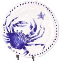 "14"" Round Blue and White Crab Platter"