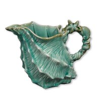 "8"" Blue Shell Ceramic Pitcher"