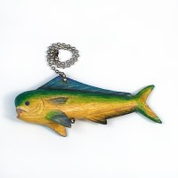 Multicolor Carved Wood Mahi Mahi Fan Pull