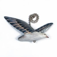 Blue Carved Wood Flying Seagull Fan Pull