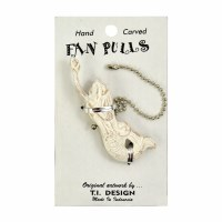 "2.5"" Worn White Carved Wooden Mermaid Fan Pull"