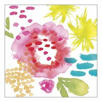 """5"""" Square Bright Abstract Floral Beverage Napkins"""