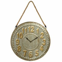 """19"""" Round Silver and Gold Galvanized Metal Clock with Rope"""
