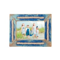 "4"" x 6"" Blue Rustic Rope Accent Photo Frame"