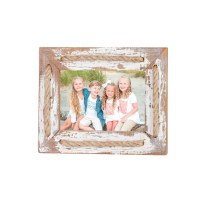 "4"" x 6"" White Rustic Rope Accent Photo Frame"