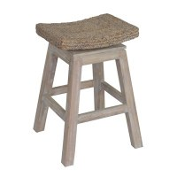 "24"" White Wood Sanibel Stool with Woven Seat"