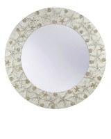 """30"""" Round White Starfish and Scallops Mirror"""
