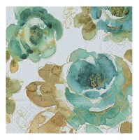 "5"" Square Green Greenhouse Roses Beverage Napkins"