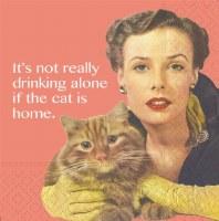 "5"" Square Salmon Cat is Home Beverage Napkins"
