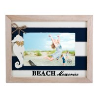 "4"" x 6"" Navy Blue and White Beach Memories Seahorse Photo Frame"