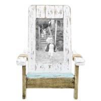 "4"" x 6"" Distressed White and Aqua Coastal Chair Photo Frame"