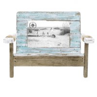 "4"" x 6"" Distressed White and Blue Finish Coastal Chair Photo Frame"