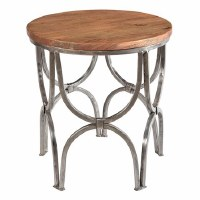 "24"" Round Silver Metal Arch Table with Mangowood Top"