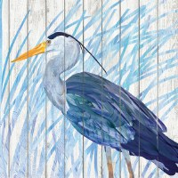 "5"" Square Blue Waterside Heron Slat Wood Beverage Napkins"