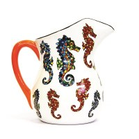 """7"""" Red and Blue Mosaic Seahorse Ceramic Pitcher"""