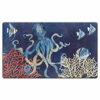 "20"" x 30"" Indigo Blue Octopus and Coral Cushioned Mat"