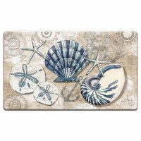 "20"" x 30"" White and Blue Tidepool Sea Life Cushioned Mat"
