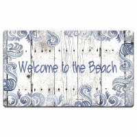 """20"""" x 30"""" White and Blue Beach Welcome Cushioned Mat"""