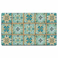 """20"""" x 30"""" Blue and Beige Moroccan Tiles Cushioned Mat"""