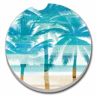 "3"" Multicolor Abstract Palms Beachscape Car Coaster"
