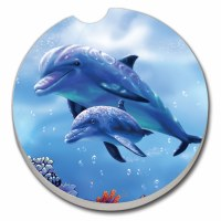 "3"" Blue Multicolor Dolphin Mother and Baby Car Coaster"