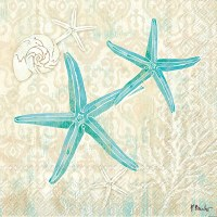 "7"" Square Turquoise Laguna Shells Starfish on Beige Luncheon Napkins"